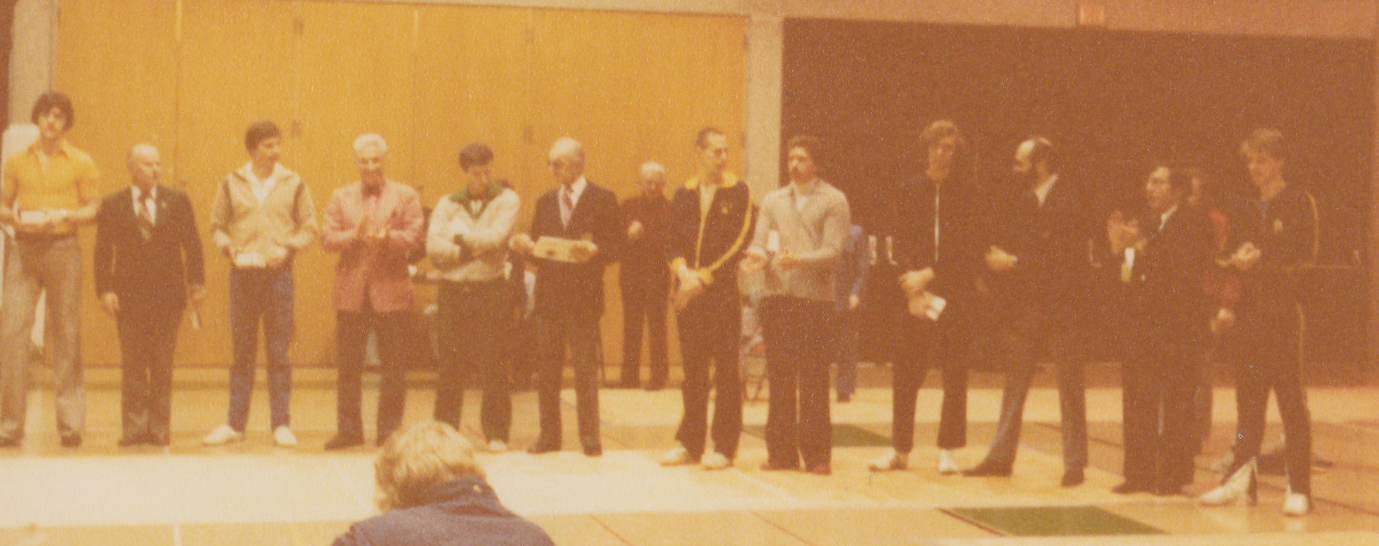 West Coast Fencing Archive - Coach Michael D'Asaro and Peter Schifrin representing  San Jose State University  at the 1978 NCAA Epee Championship.
