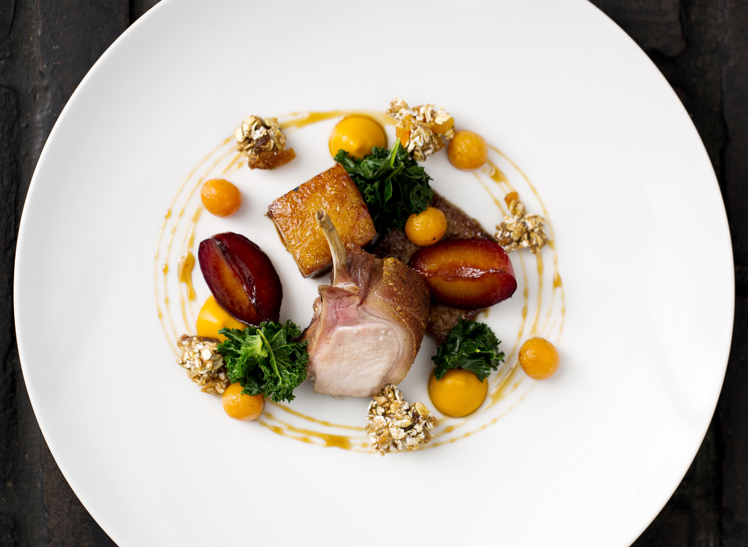 Cumbrian suckling pig, pumpkin puree, kale, spiced plums, granola clusters_3.jpg