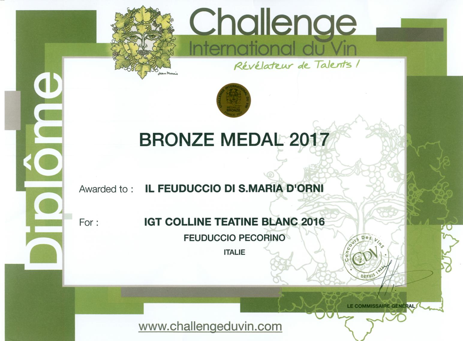 Challenge du Vin - Feuduccio Pecorino 2016: Bronze Medal 2017