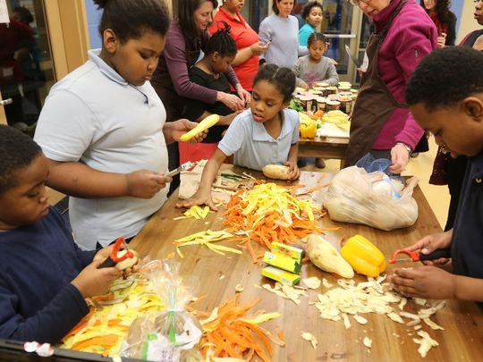 cincinnati gives a crock class at John P Parker school