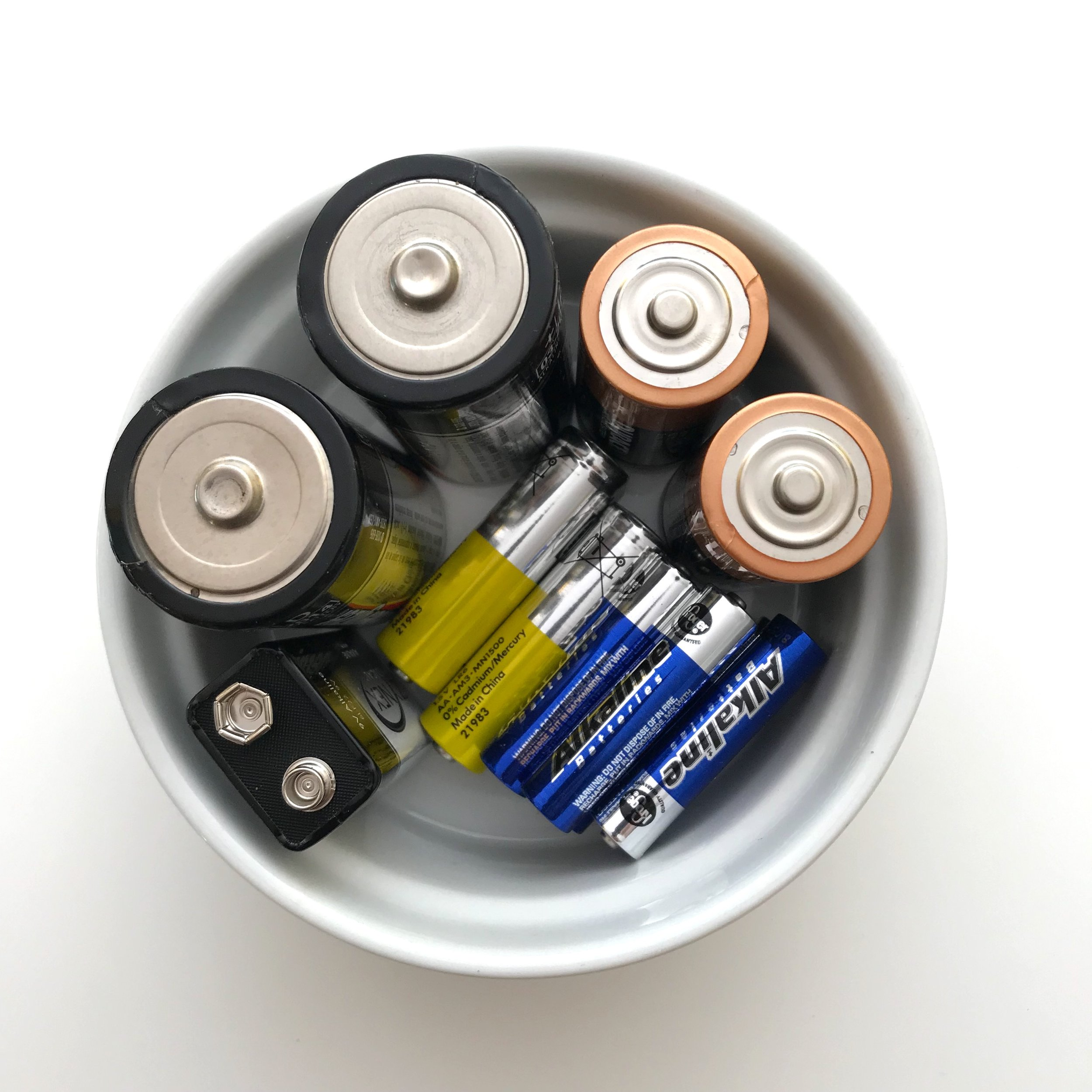 batteries in a ramekin