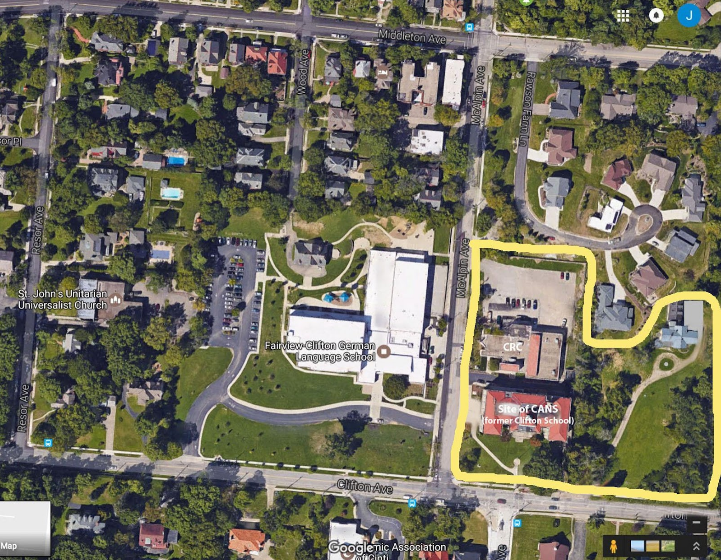 The properties for this discussion are contained in the yellow line, located north of McAlpin Avenue bordering on Clifton Avenue. Needs are for a play area, additional parking, attractive and maintainable landscaping and practical pedestrian circulation throughout.