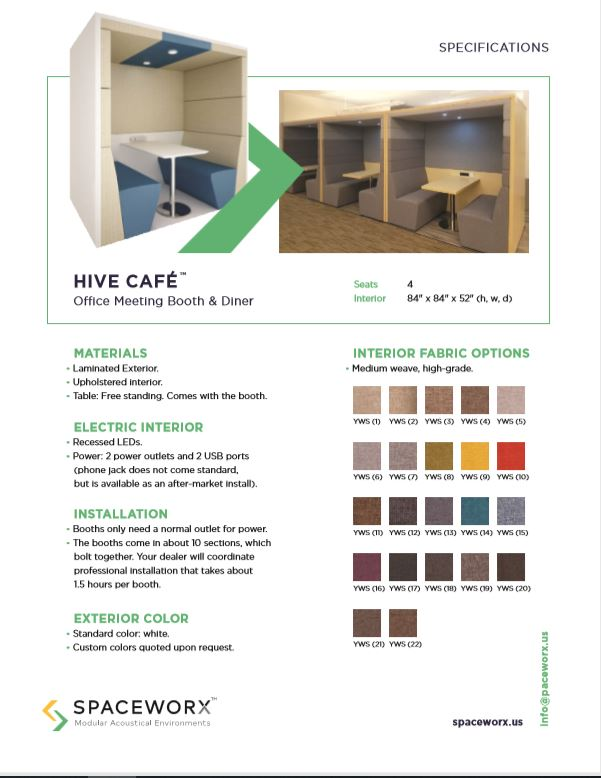 fabric color selection for The Hive Cafe