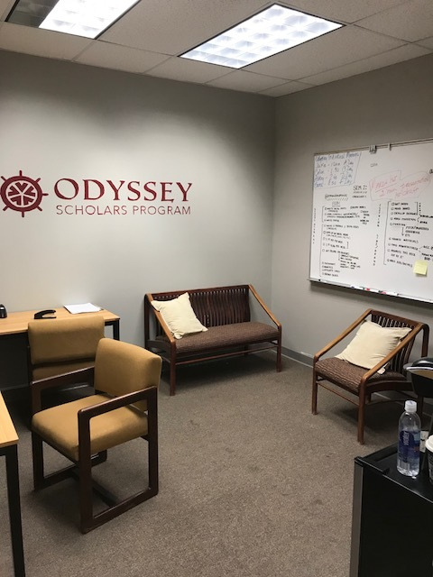 We have a new study room dedicated entirely to the Odyssey Program! An office in the 100 building that is no longer in use has been graciously given to us by the school to use as a meeting room, study room, interview room, etc.