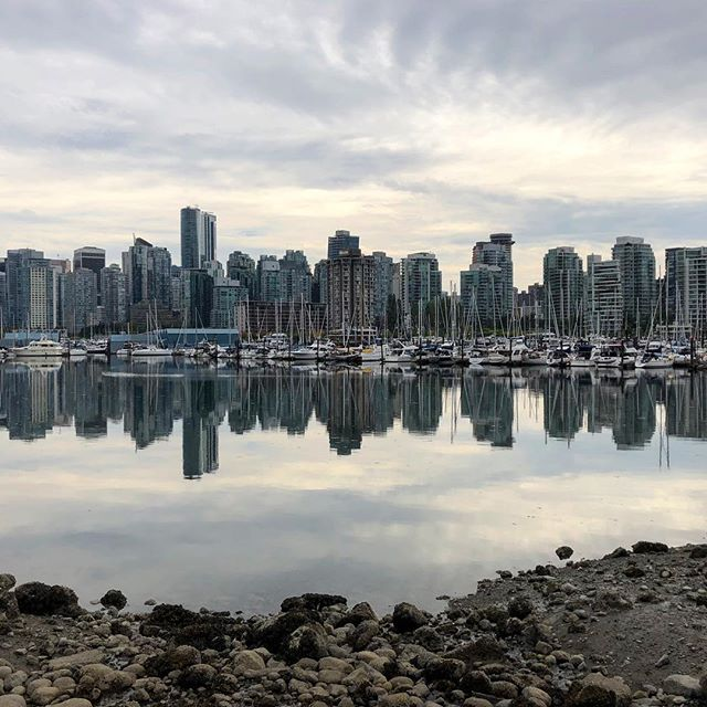City Skyline, Vancouver . . . #vancouver #vancouverbc #canada #city #cityscape #skyline #reflections #highrise #sunset #summer #summerthrowback