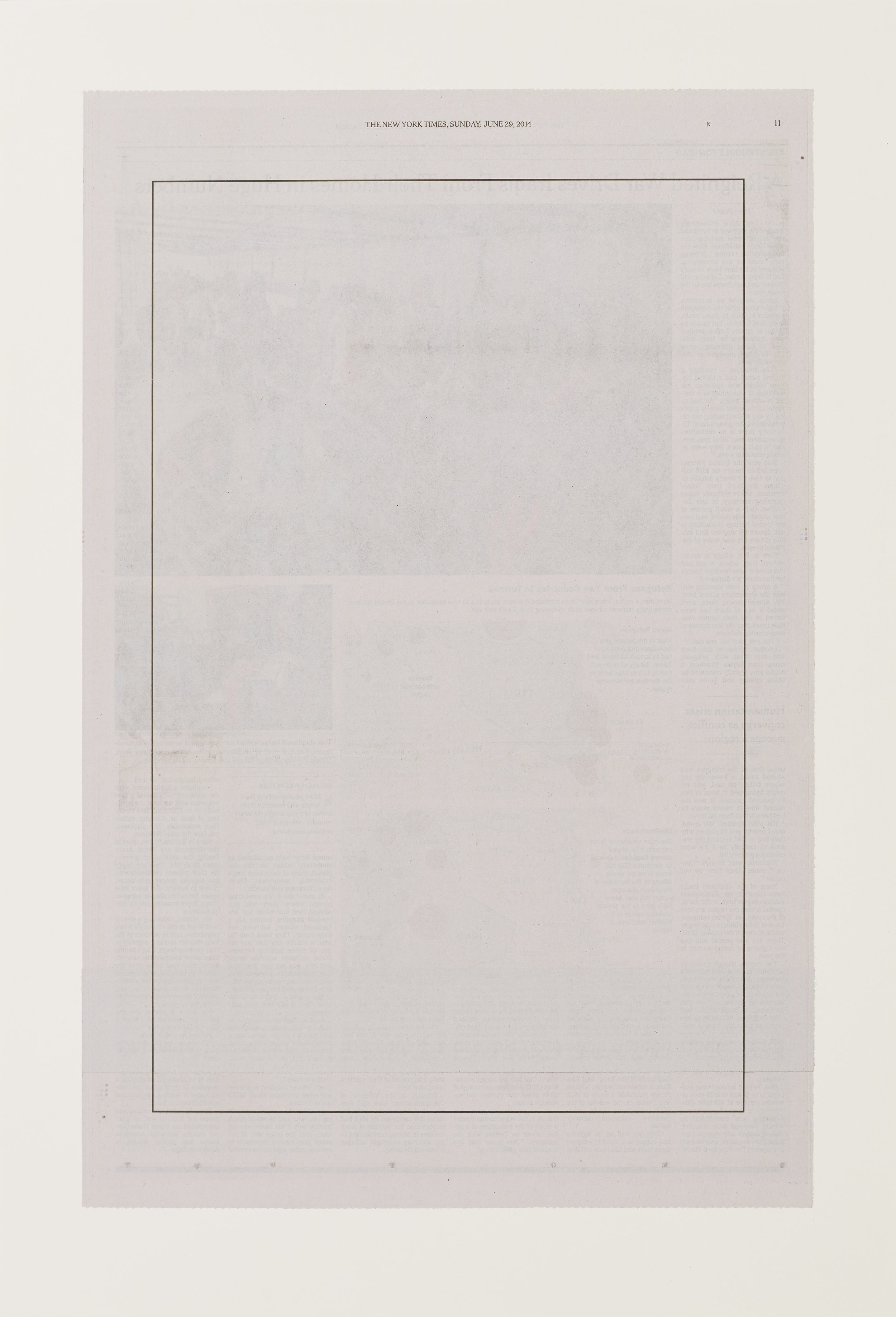 """Intentionally Blank (June 29, 2014)"", 2014 15""x23"", Altered New York Times page mounted on paper"