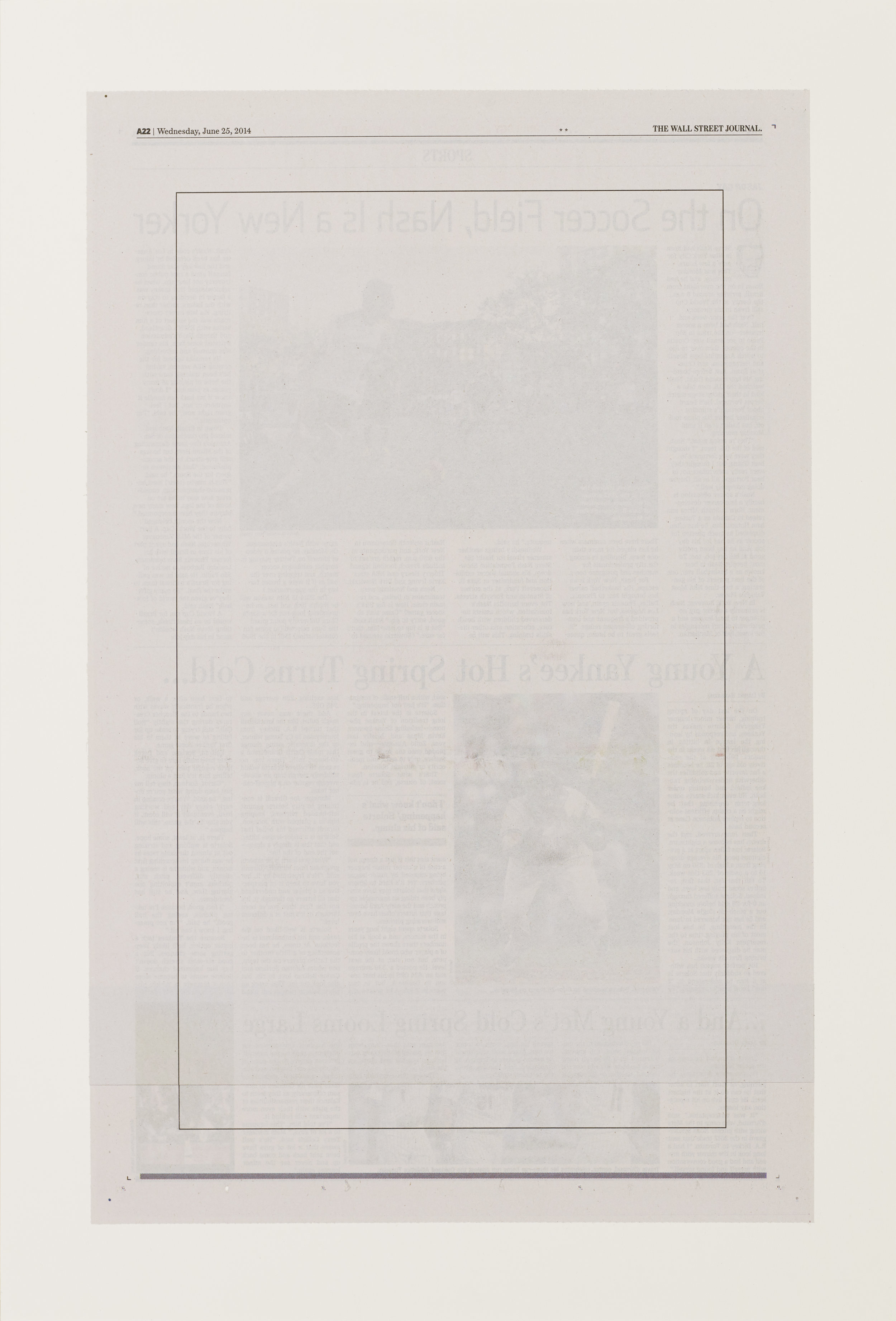 """Intentionally Blank (June 25, 2014)"", 2014 15""x23"", Altered New York Times page mounted on paper"