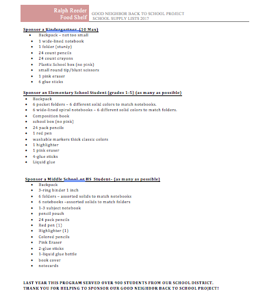 School supplies list - items especially needed: Backpacks Plain, colored folders 3-subject notebooks School glue Highlighter