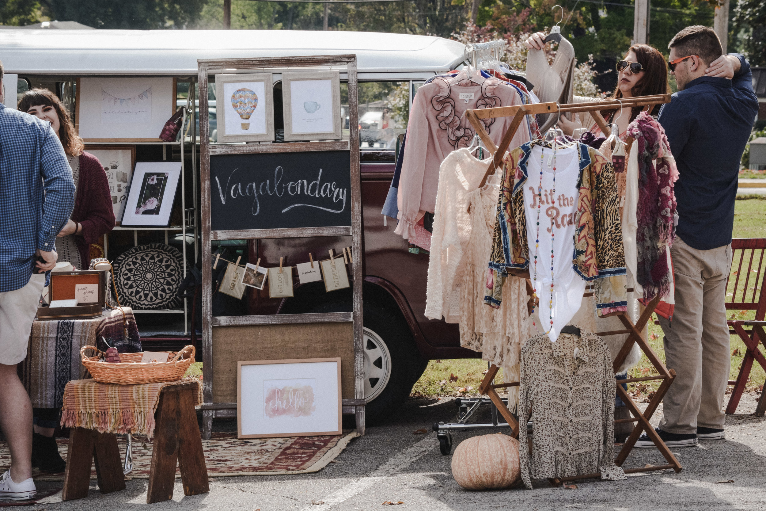 on the road. - The Vagabondary Bus popup shop made its debut appearance at the Mossy Creek Festival. It was terrifying and exhilarating to bring my art and style to face the public, and the response was amazing. Look out for the Vagabondary Bus in 2018 and read more about its story here.