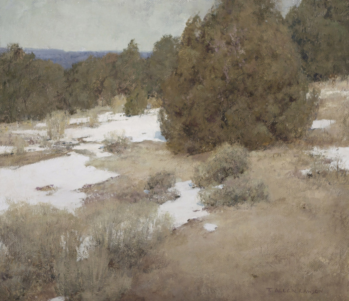 """""""Niveous Retreat"""" oil on linen, 18 x 20 in., 2012"""