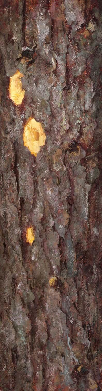 Spruce, oil on linen, 30 x 8 in.