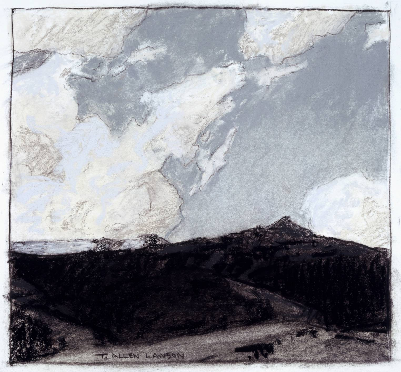 Study for Alpine Theater, mixed mediums on toned paper, 7 x 7 ½ in.