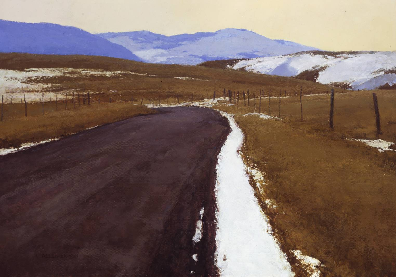End of Winter, Old Yellowstone Highway, oil on linen, 24 x 34 in.