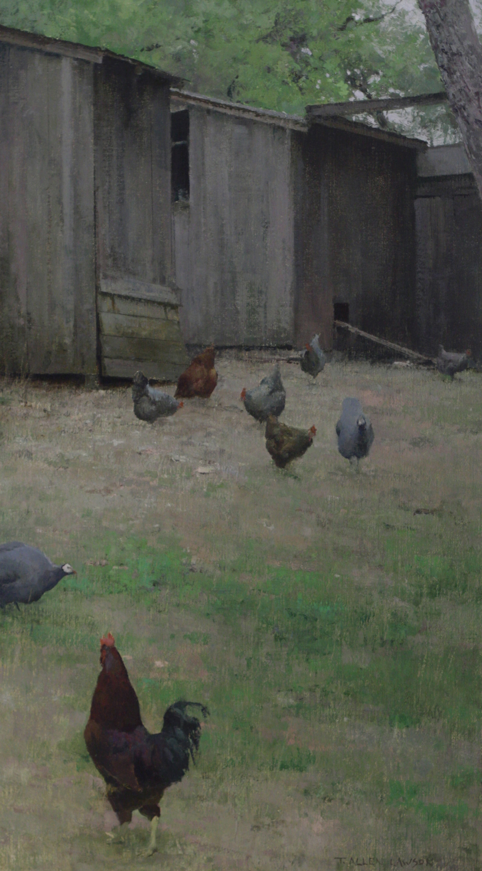 A Cock, Two Guineas and a Passel of Hens, oil on linen, 24 x 14in.