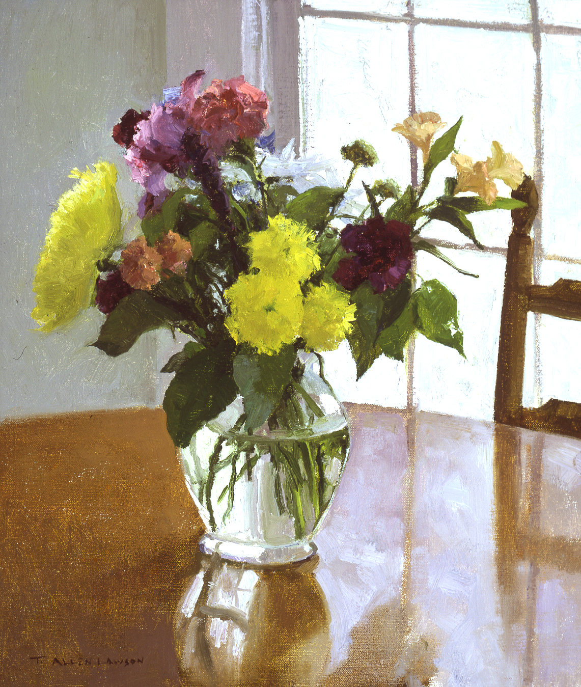 Breakfast Table Bouquet, oil on linen, 16 x 14in. Collection of John and Nancy O'Shea