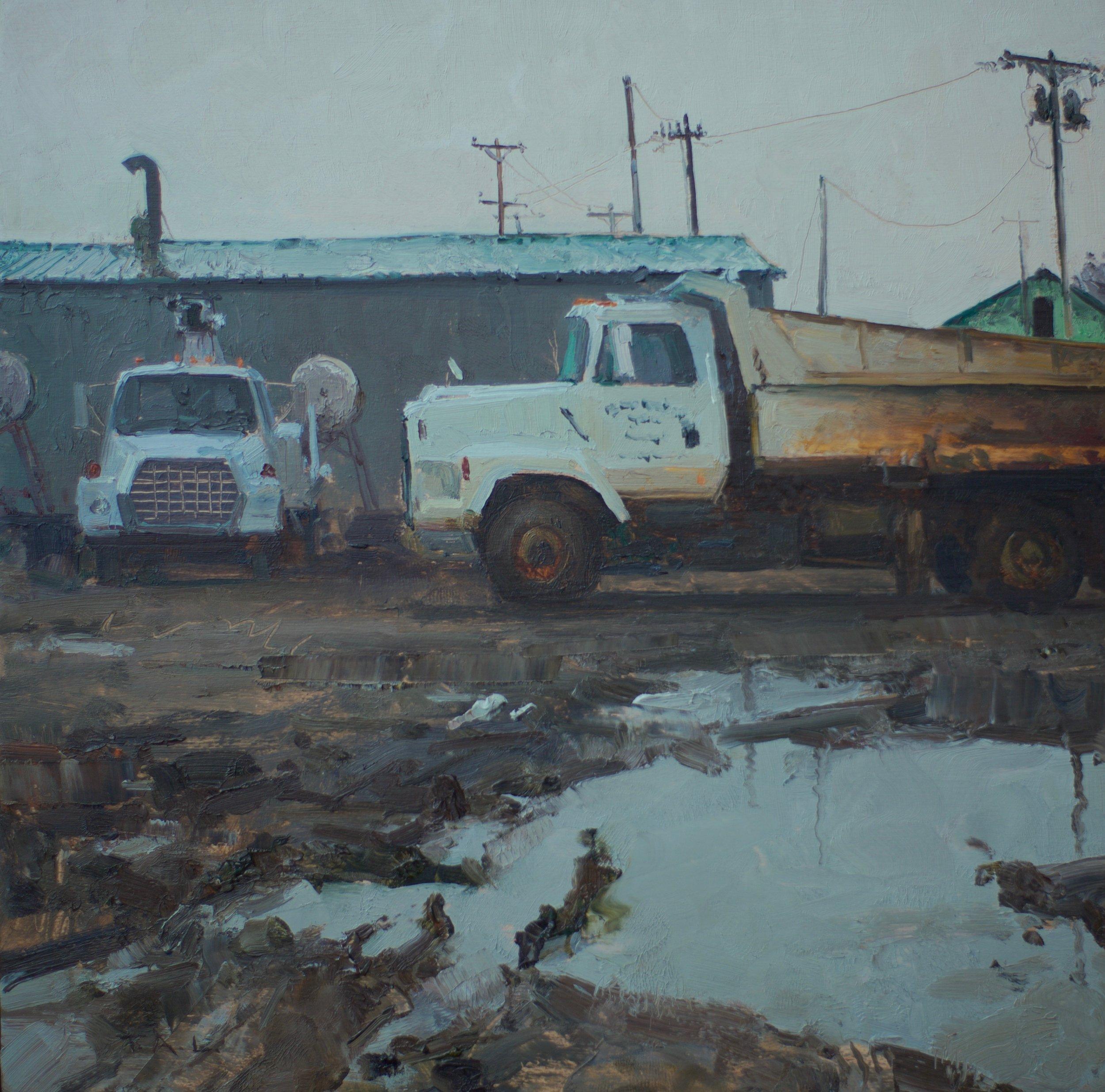 Mike's Dozer, oil on panel, 10 x 10 in.