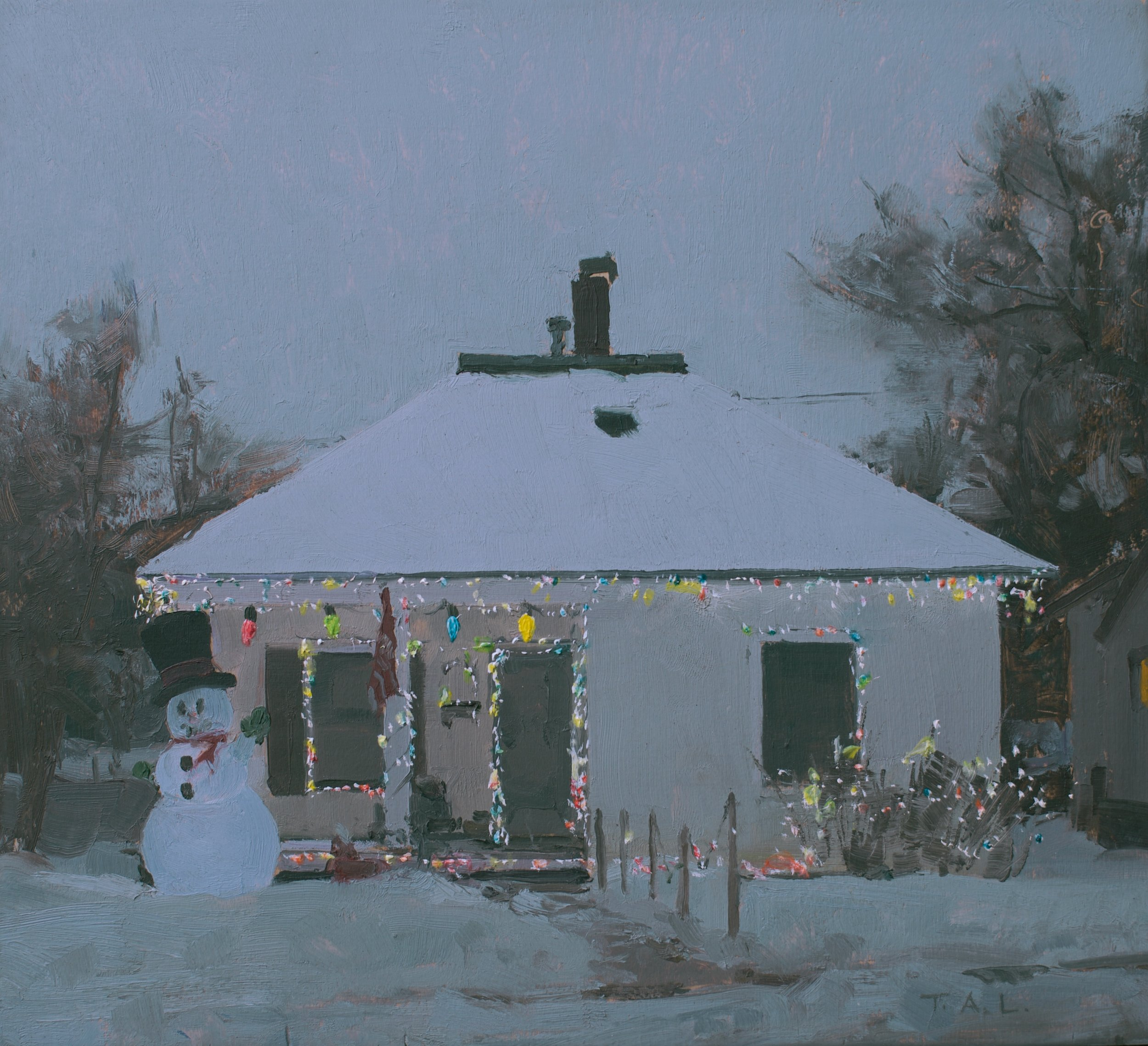 """Frosty - Study for  """"Letting the Days Go By"""", oil on panel, 9.5 x 10.25 in."""