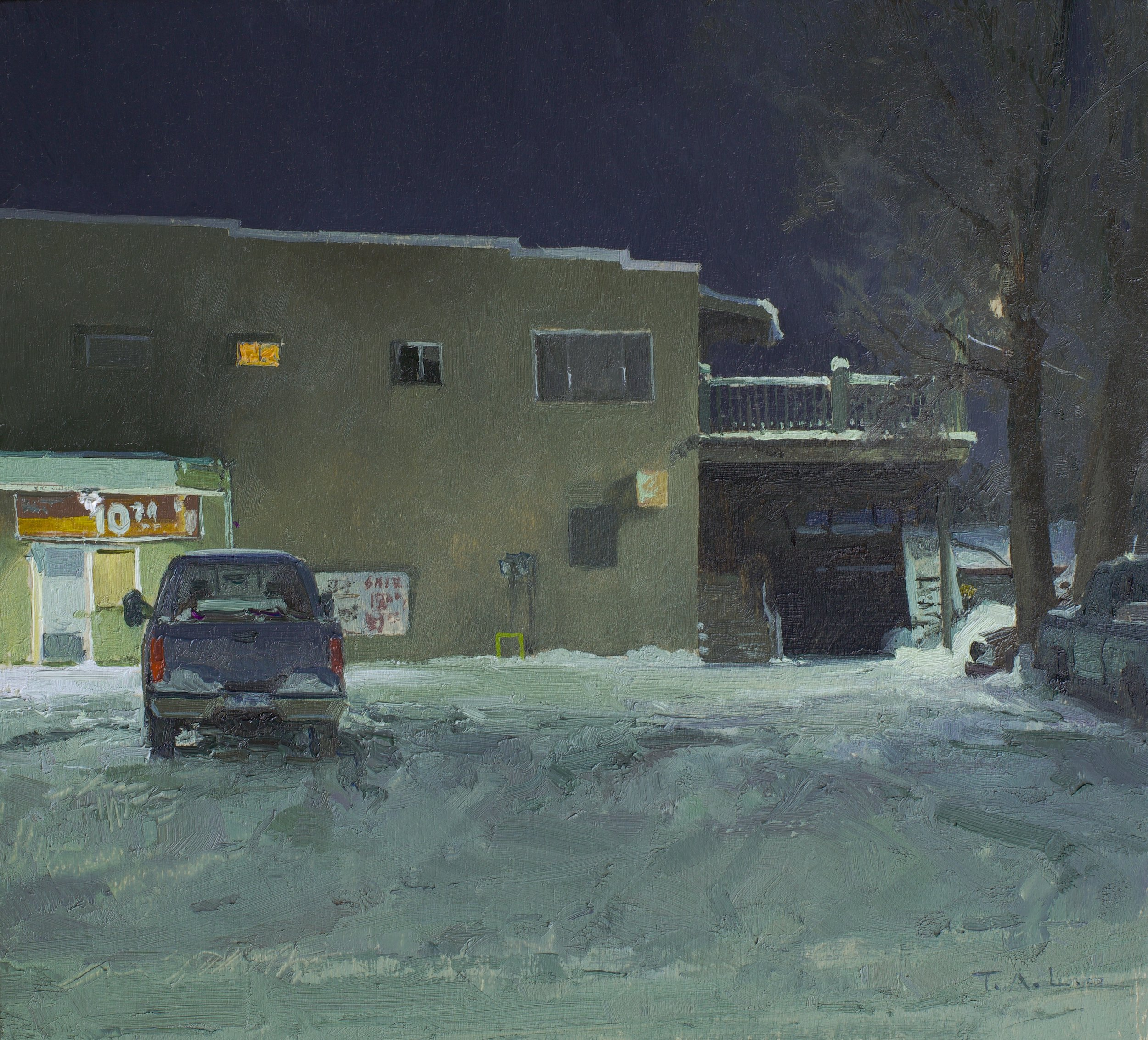 Late Night at the O.K. Corral, oil on panel, 9.5 x 10.5 in.