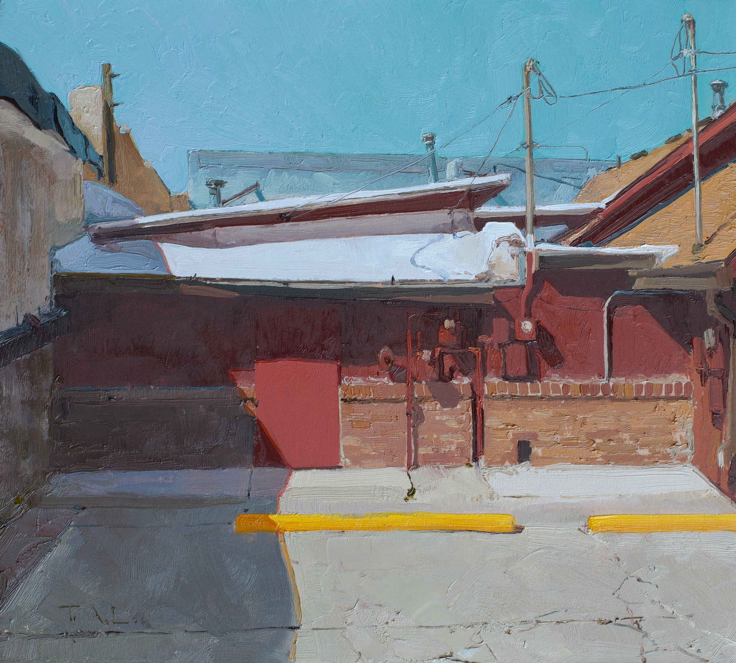 Behind the Mural, oil on panel, 9 x 10 in.