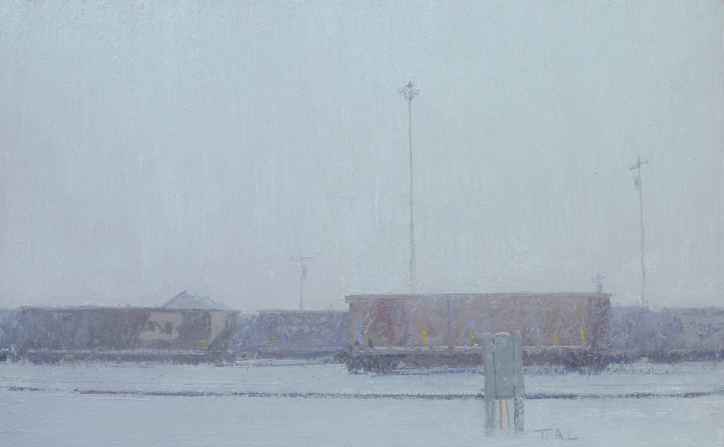 The Yard, oil on panel, 7.5 x 12 in.
