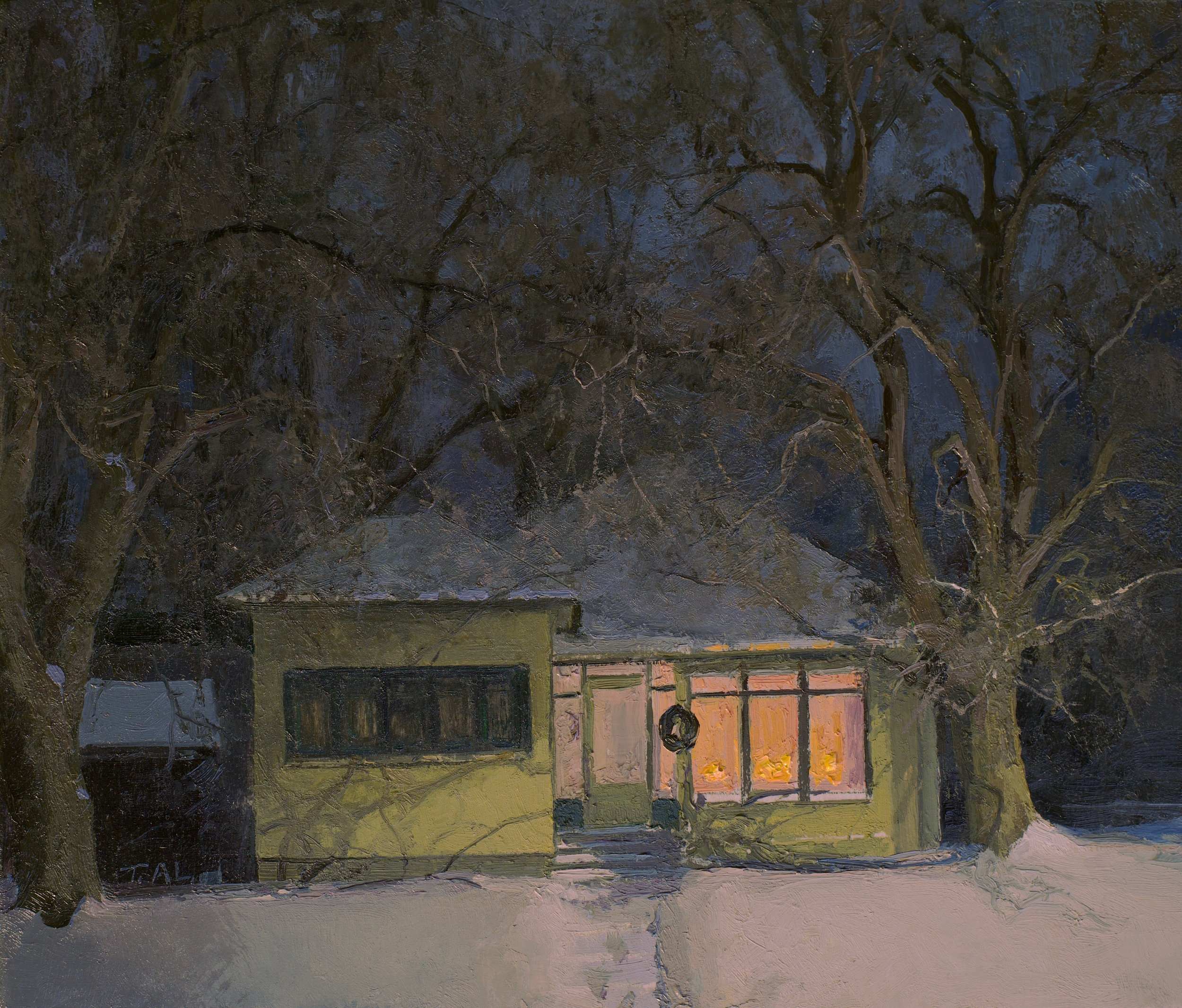 A Night For Caroling, oil on panel, 9 x 10.5 in.