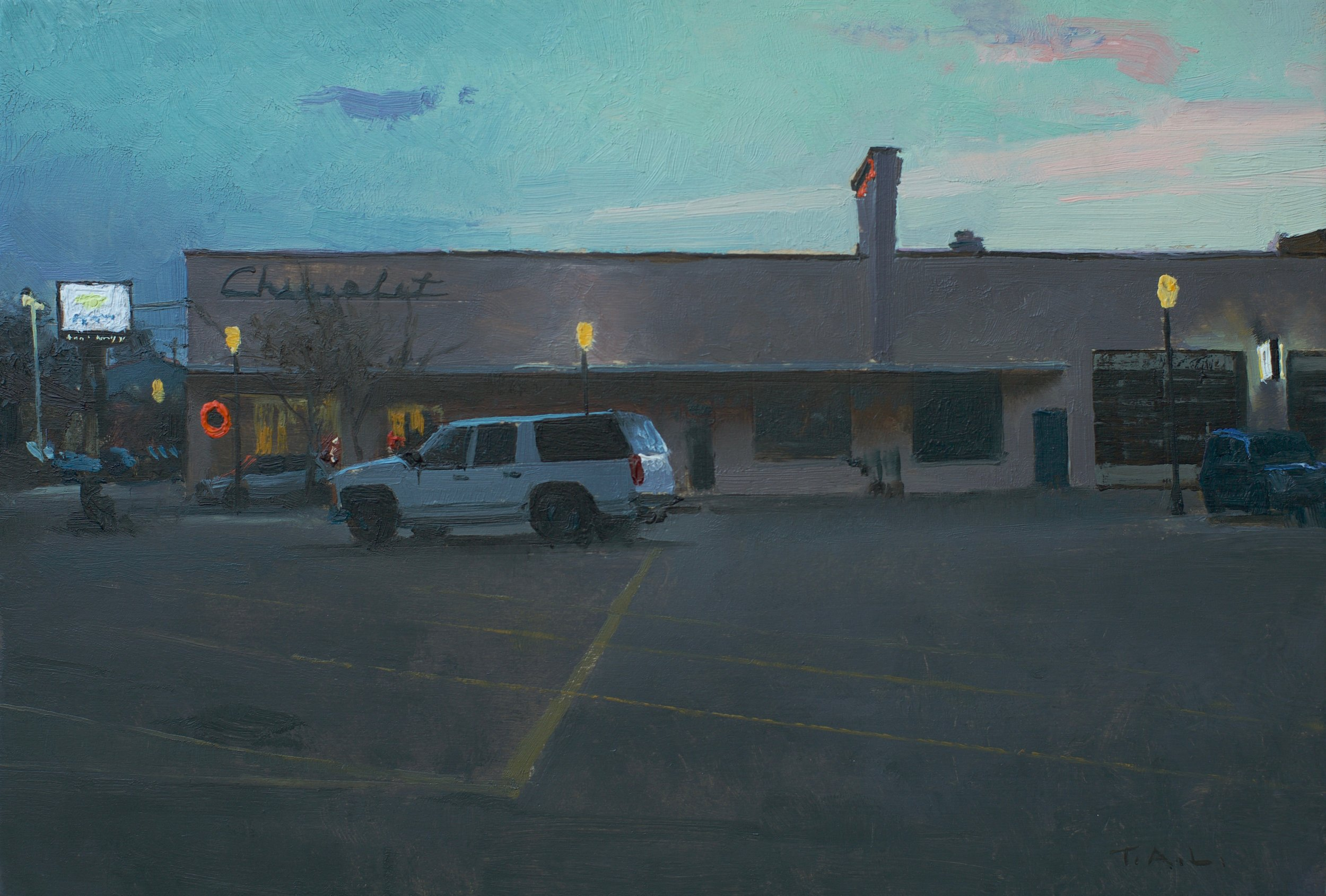 In-Town Friendly Service, oil on panel, 7.5 x 11 in.