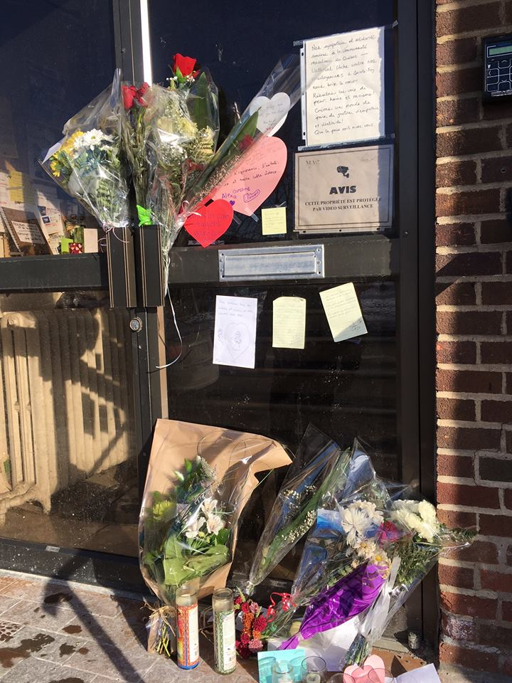 Notes and tributes outside the Verdun Islamic Centre last January.
