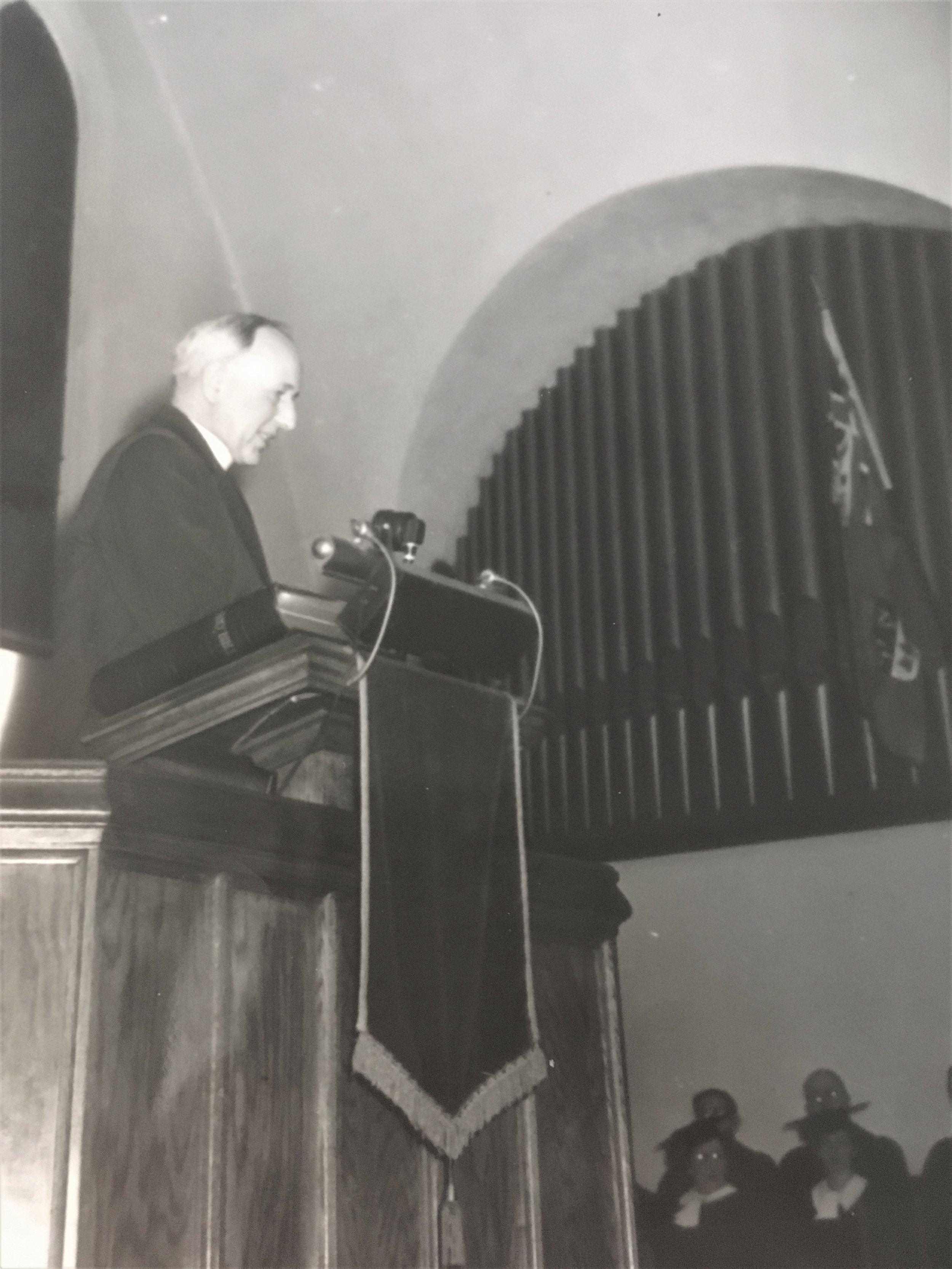 Rev. J.G. Joyce in Verdun United Church.