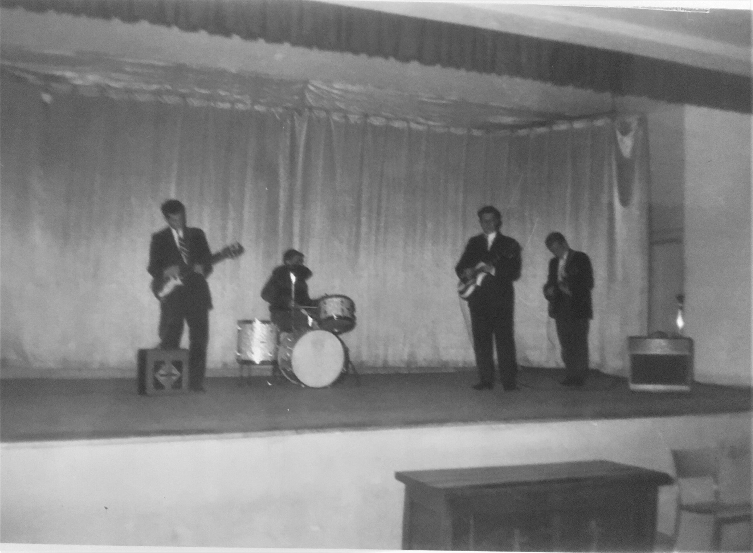 The caption says Gerry Mercer's Band. We presume that's Gerry on drums. This was taken in April 1960, the month Gerry turned 21.