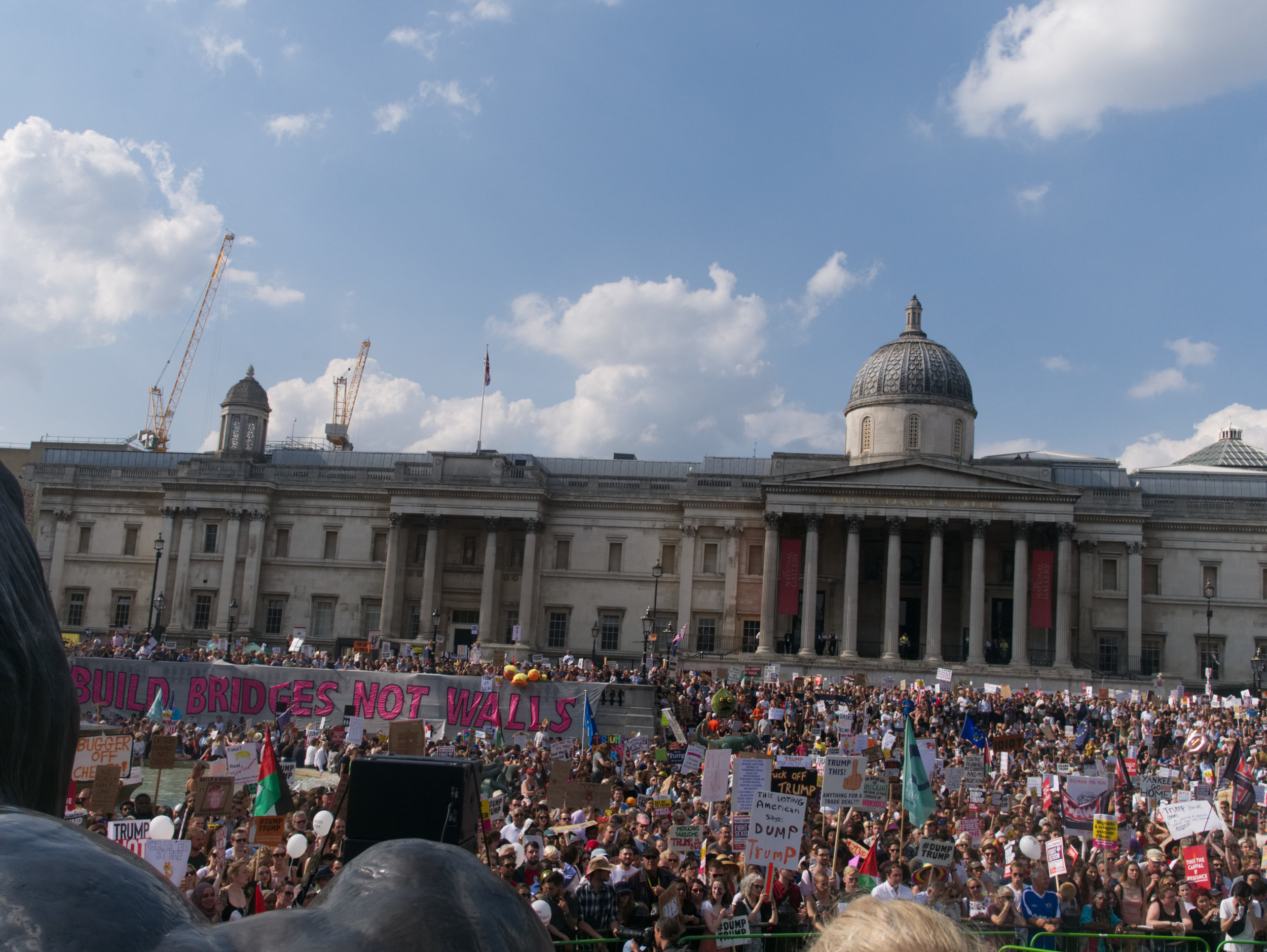 a view from the stage at Trafalgar Square - first time on the steps of Nelson's Column.