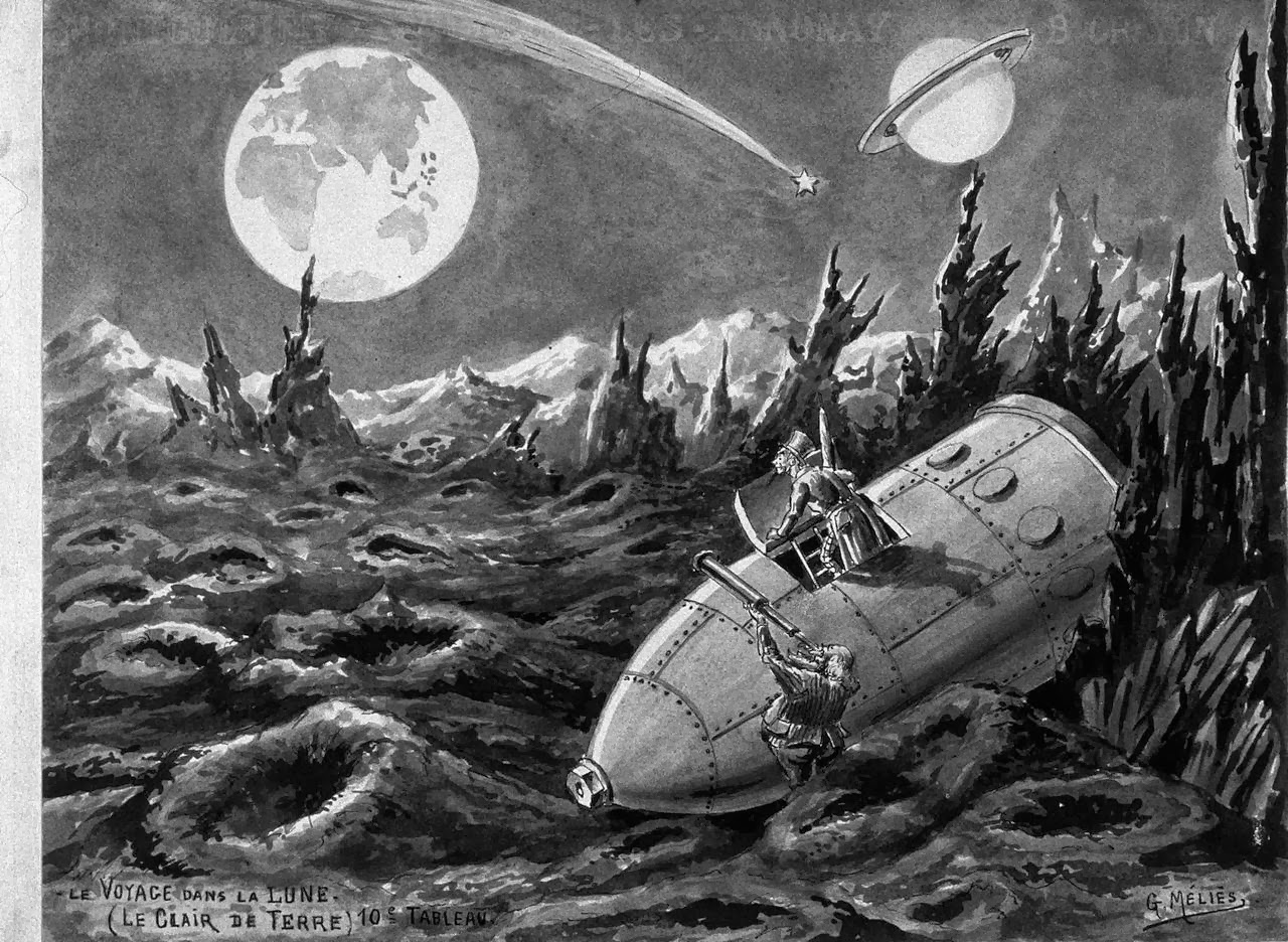A Trip to the Moon   ( French :   Le Voyage dans la Lune  ) [a]  is a 1902 French  space exploration   surrealist   silent film  directed by  Georges Méliès . Inspired by a wide variety of sources, including  Jules Verne 's novels   From the Earth to the Moon   and   Around the Moon  , the film follows a group of astronomers who travel to the  Moon  in a cannon-propelled capsule, explore the Moon's surface, escape from an underground group of  Selenites  (lunar inhabitants), and return to Earth with a captive Selenite. It features an  ensemble cast  of French theatrical performers, led by Méliès himself in the main role of Professor Barbenfouillis, and is filmed in the overtly theatrical style for which Méliès became famous.  Credit: https://en.wikipedia.org/wiki/A_Trip_to_the_Moon