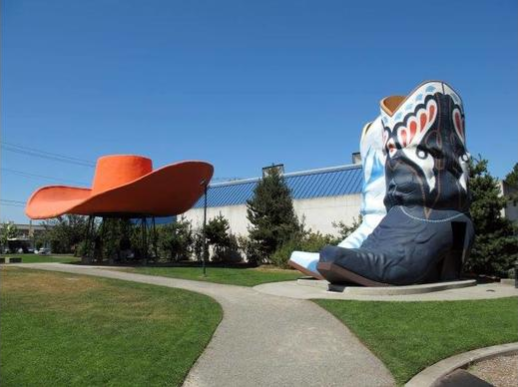 Hat 'n' Boots, Seattle, WA This is the largest hat and pair of cowboy boots in America and we're guessing probably the world. Now restored, the hat was once a gas station. The boots were the ladies' and men's rooms.  https://www.topixoffbeat.com/slideshow/19342 Stacie Hougland