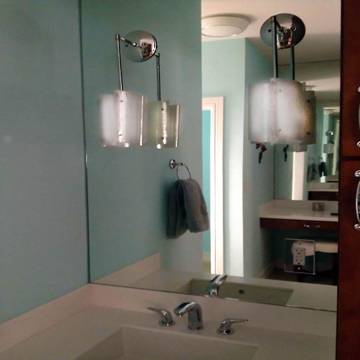 Pendant sconces in a bathroom