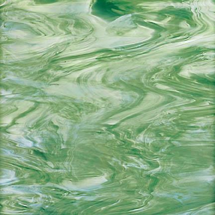 828-72 - Seafoam Green/White OpalA rich mossy, forest green streaked with white wispy random swirls.