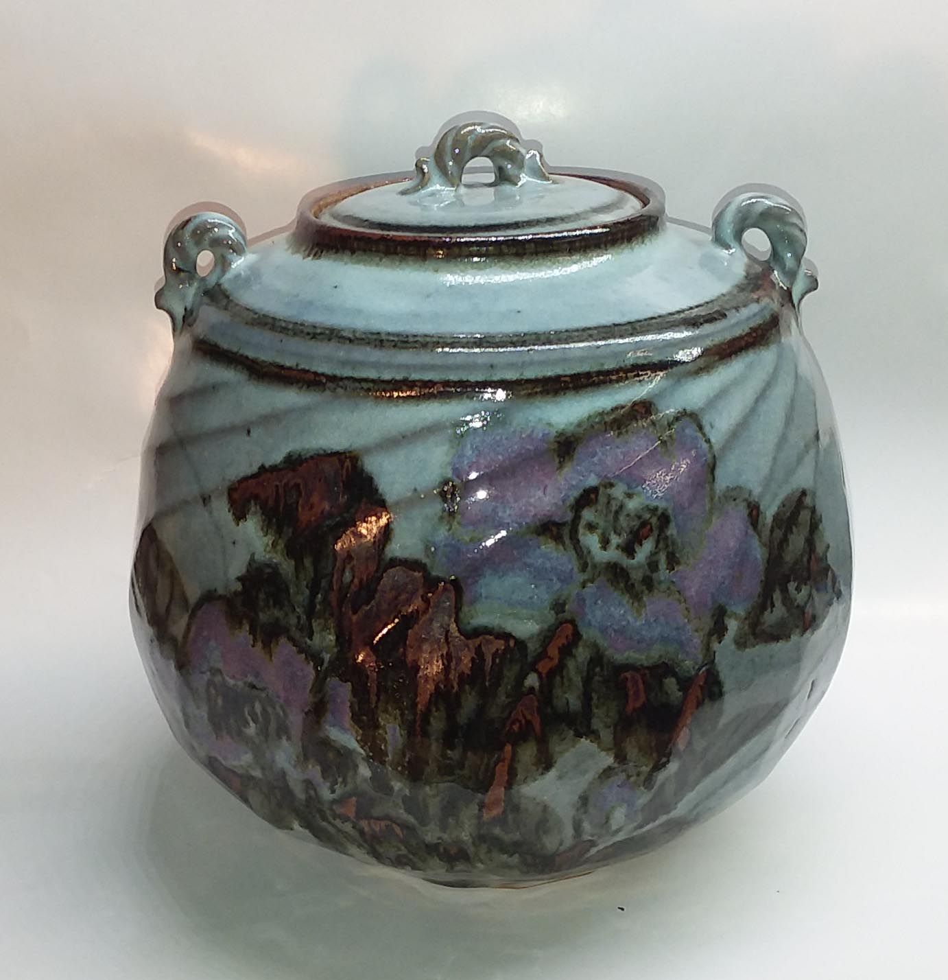 "Stoneware jar, painting of Camelia by Linda, 12"" tall"