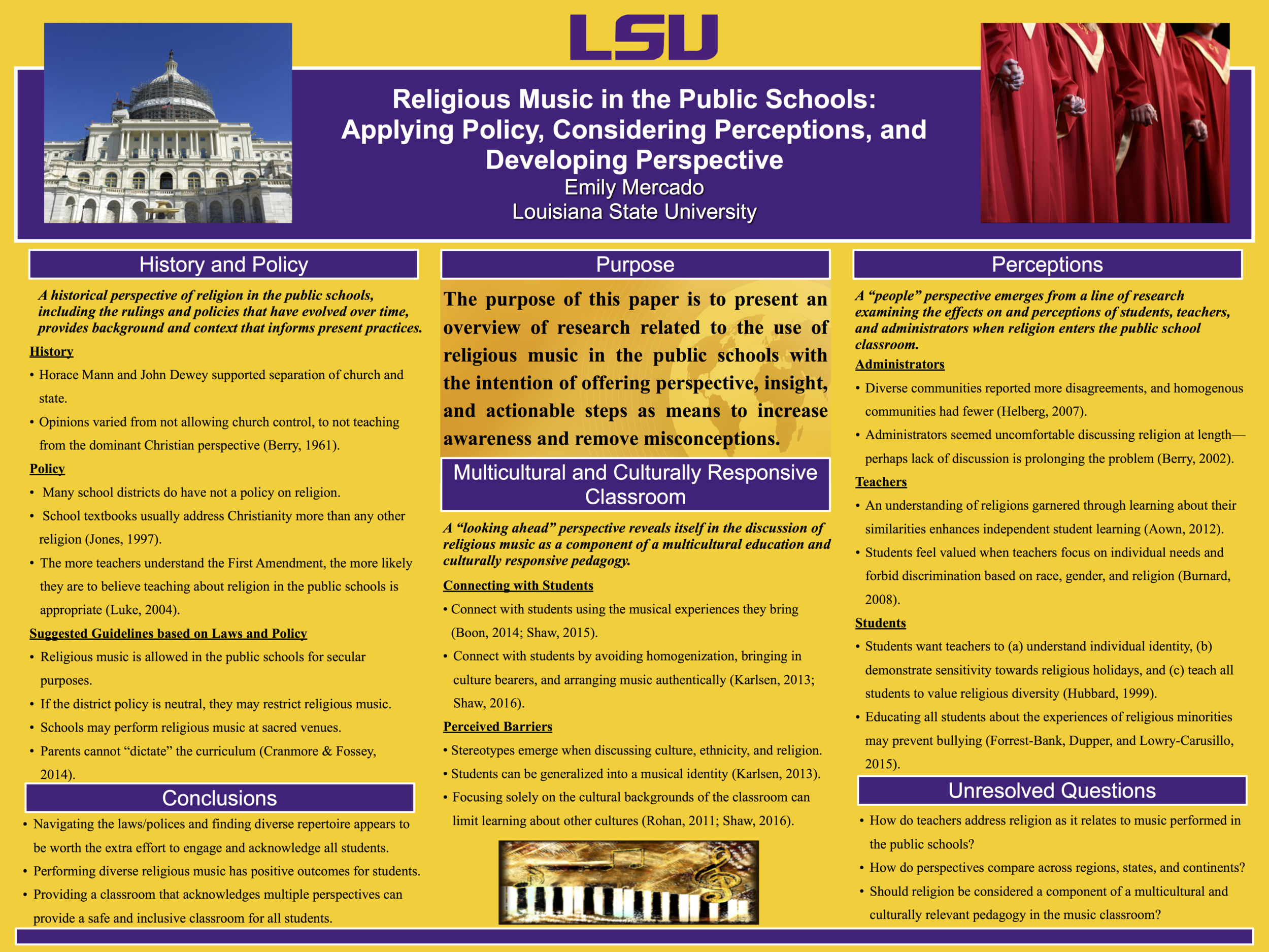 Poster - 2016 Louisiana Music Education Association State Conference, Baton Rouge, LA.