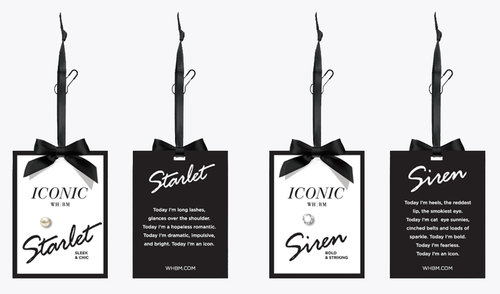 Specialty Hang Tags with a small jewel and a first person voice was designed to represent each persona.