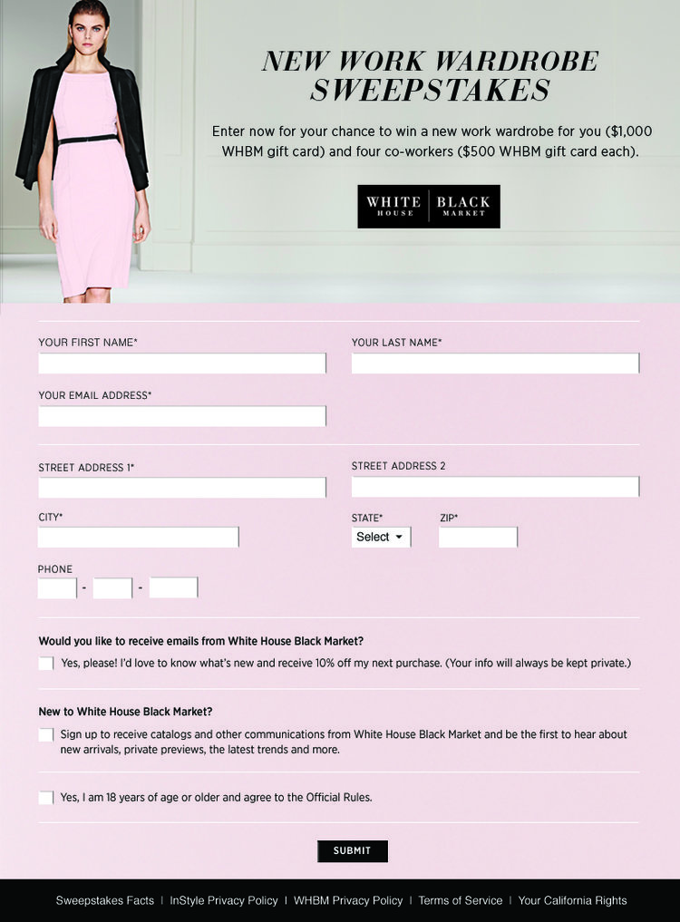 Sweeps Entry Form
