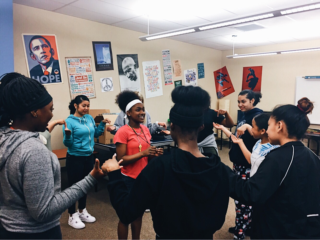 The 2018 Powerful Choices group doing an interactive activity