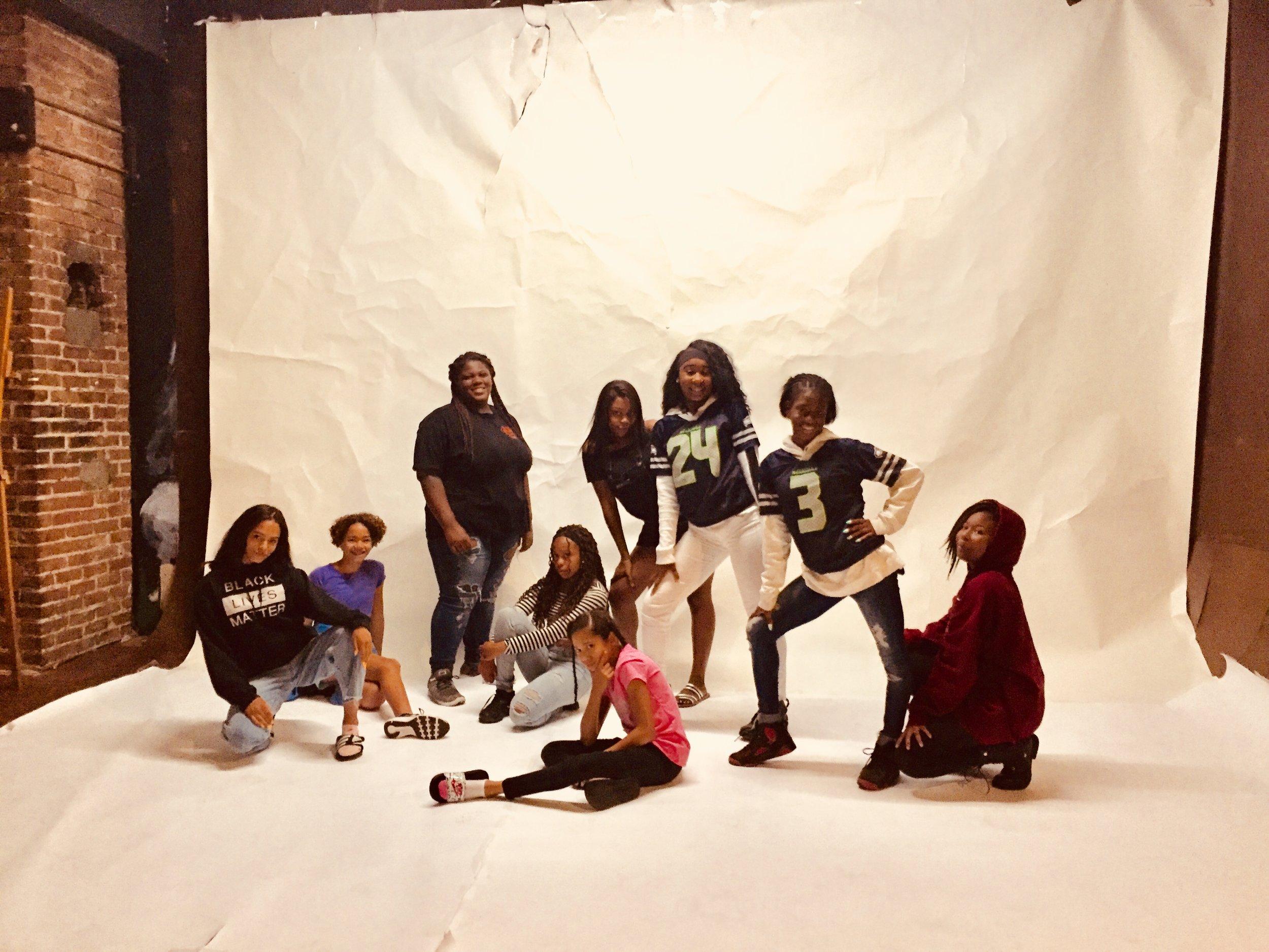 The 2018 #BlvckGrrlsRising cohort posing at the studio