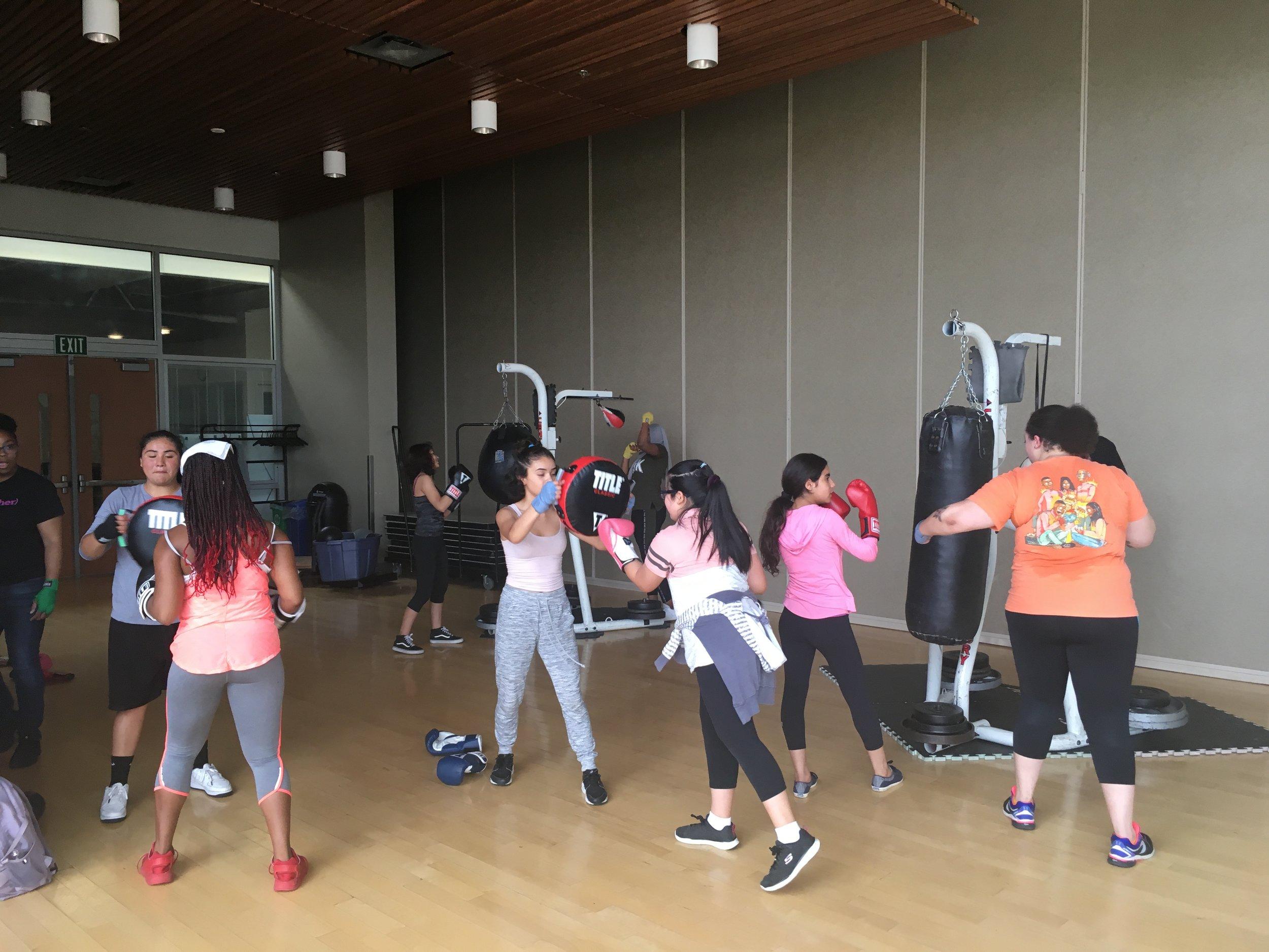 The 2019 Summer Punch cohort doing drills at Rainier Beach Community Center.