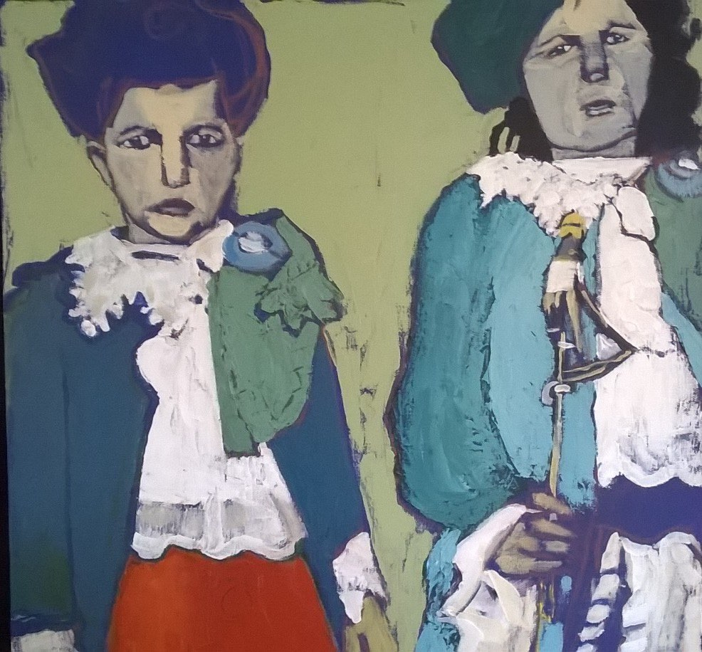 C Bancroft Ellis Island Series Two Scottish Girls 18 x 18 acrylic  and conte crayon-1.jpg