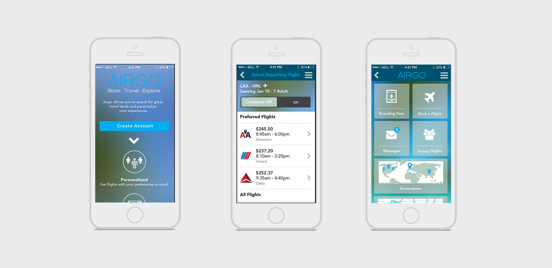 airgo travel app - See my process from start to finish with this personal project.