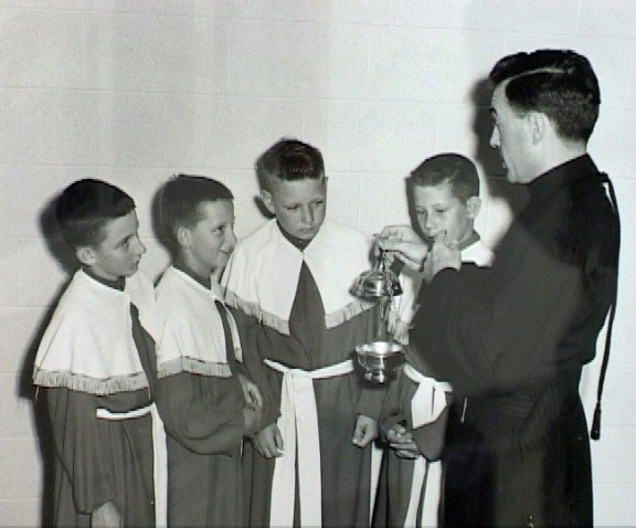 1957-Fr. Robert with Billy Borris-Ronnie Morris-Cecil Dobecka-Johnny Dobecka.jpg