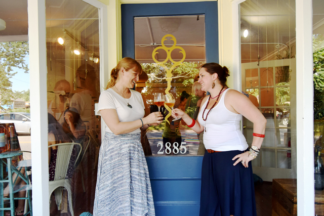 Alie Shaper and Robin Epperson-McCarthy outside their new tasting room, Peconic Cellar Door, in Peconic. (Credit: Vera Chinese)