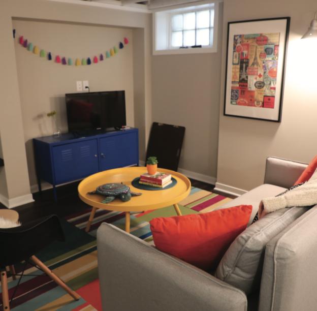 Rachel Dickinson's new finished basement.