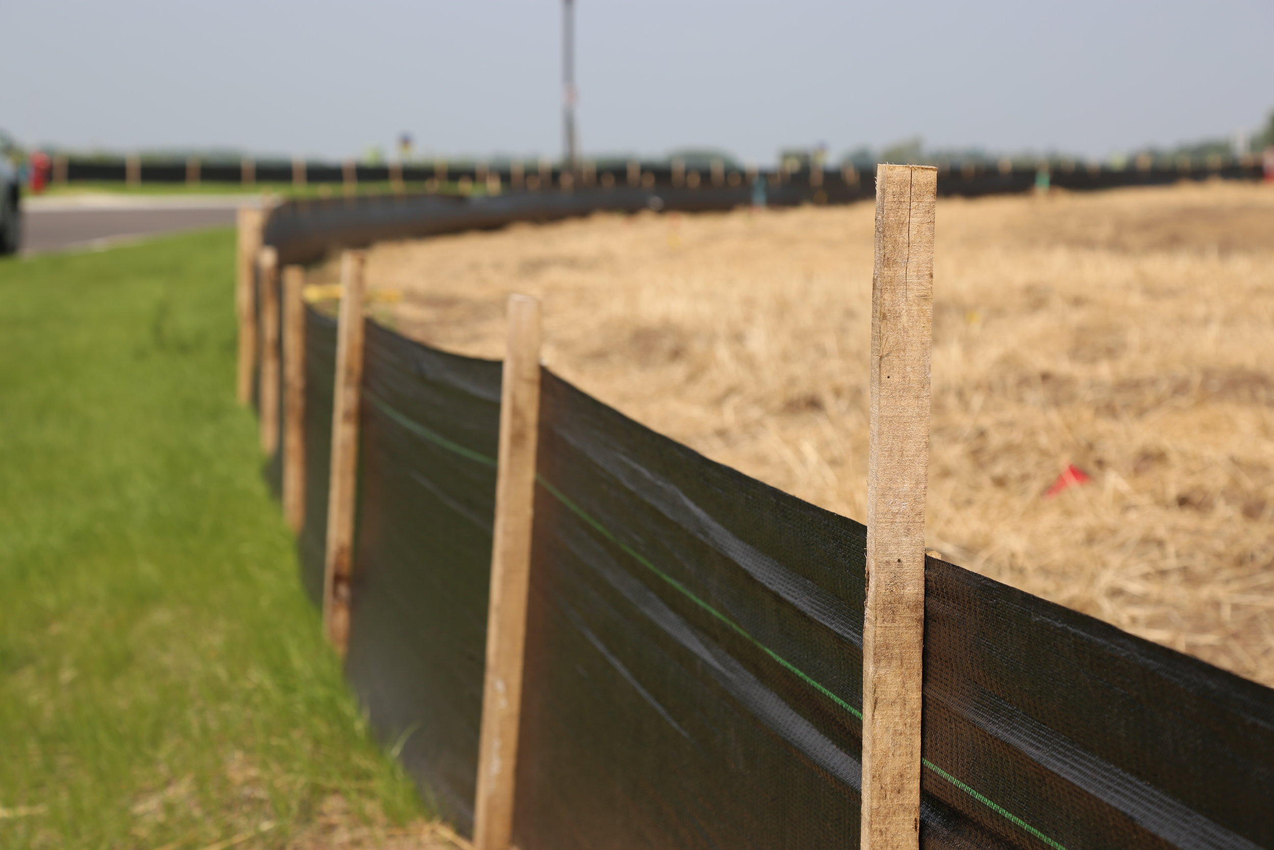 Silt fencing at a construction site in Cottage Grove, Minn.