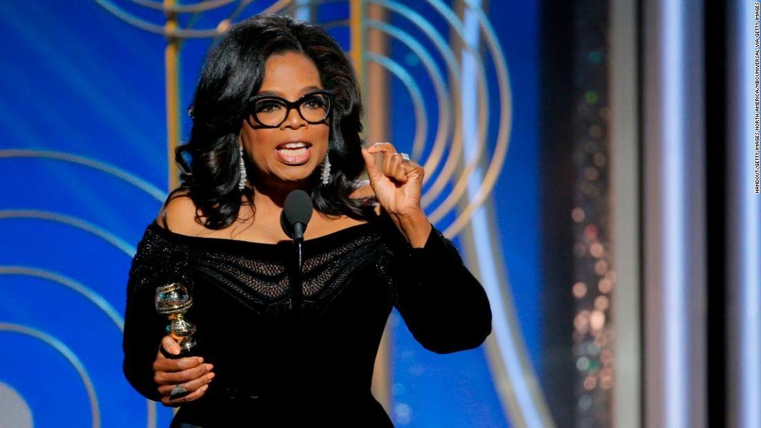 Oprah delivering her hit speech at the Golden Globes. Image Credit:  83Oranges