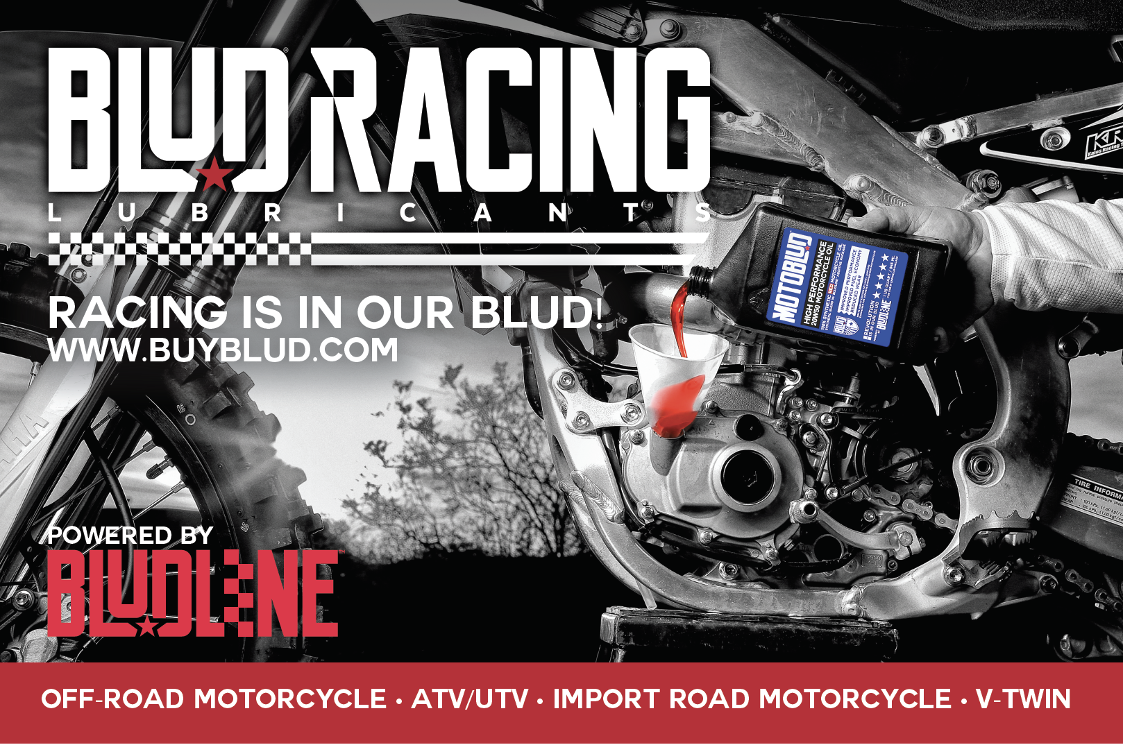Blud Lubricants® Manufactures The Finest 100% Synthetic Oils Available. Upgrade Your Ride Today!! More horsepower. Cooler Running. Red!!