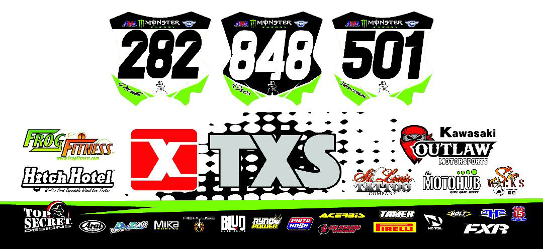 """Blud Racing Lubricants is pleased to announce that it has partnered with the """"International Supercross Race Team"""" for the 2019 Monster Energy AMA Supercross Series.  The three-rider privateer race team is to compete at all 17 rounds of the 2019 Monster Energy AMA Supercross Series. The experienced team is made up of Theodore Pauli (USA), Scotty Wennerstrom (USA), and Joan Cros (Spain). The team is also happy to bring on Jason Watkins to fulfill the role as Crew Chief / Mechanic / Driver for the entire 2019 series.  The team will have two riders competing in the premier 450 class piloting the brand new 2019 Kawasaki KX450; Pauli and Wennerstrom. Piloting the race winning Kawasaki KX250F in the 250 class will be Cros."""